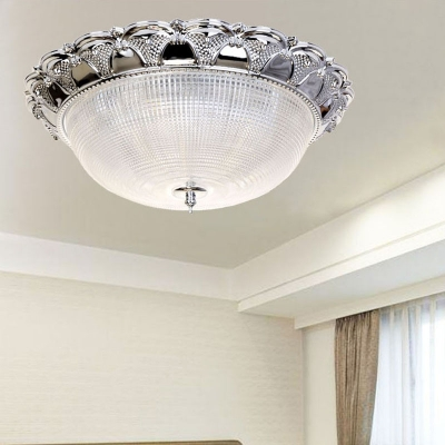 Prism Crystal Dome Flush Mount Lamp Minimalist 3 Heads Silver Ceiling Light Fixture, HL577249
