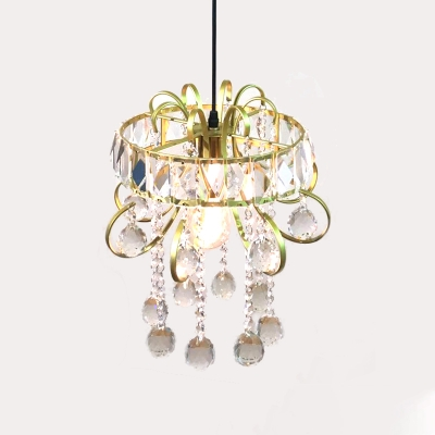 Simple Hoop Iron Mini Suspension Pendant Light 1 Light Gold Ceiling Light Fixture with Crystal Droplets