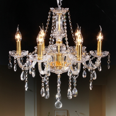Victorian Style Curvy Armed Crystal Chandelier 6 Heads Golden Drop Pendant Light Fixture