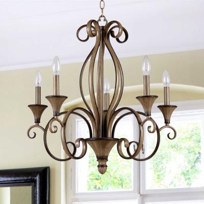 Vintage Candle Hanging Lamp 5 Lights Metal Chandelier Lighting in Wood for Living Room