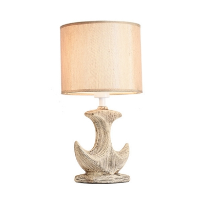 White/Tan Cylinder Desk Lamp Classic Fabric 1 Bulb Table Light with Ceramic Sailboat Base
