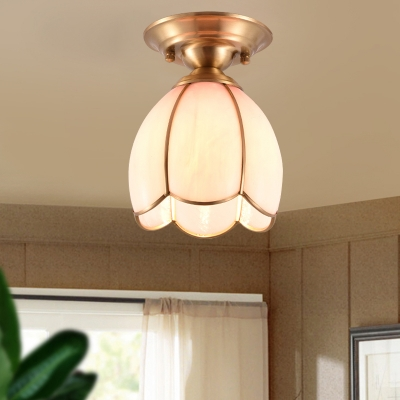 1 Bulb Flower Ceiling Mount Traditional Yellow/Blue/Pink Glass Flush Light Fixture for Living Room