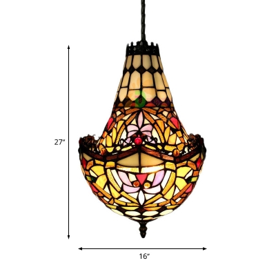Stained Glass Black Hanging Chandelier Floral 2/3/5 Lights Tiffany Style Suspension Pendant, 10