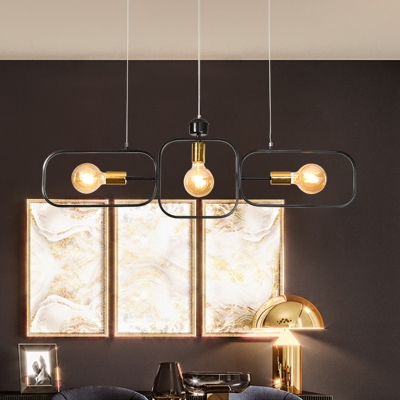 3 Bulbs Frame Ceiling Chandelier Modernist Metal Hanging Pendant Light in Black-Gold
