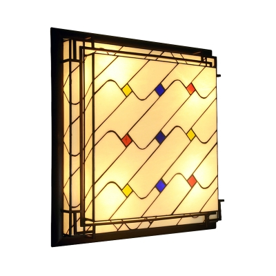 Baroque Square Flush Mount Ceiling Light Fixture LED Stained Glass Flushmount in Red/Pink/Yellow for Living Room
