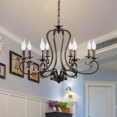 Black 6/8 Bulbs Chandelier Lighting Antique Metal Starburst Suspension Pendant Light with Adjustable Chain