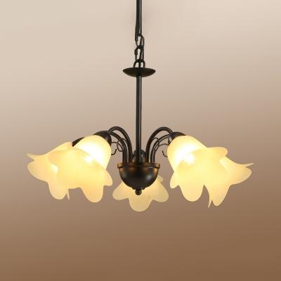 Black Bloom Hanging Chandelier Vintage Milky Glass 3/5/6 Lights Living Room Ceiling Pendant