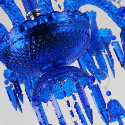 Blue Candle Chandelier Light Modernism 8 Heads K9 Crystal Pendant Lighting for Restaurant