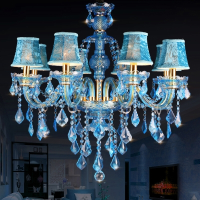 Candle/Cone Chandelier Light Fixture Modern Beveled Crystal Prism 8/18 Bulbs Blue Ceiling Pendant Light with Shade/Shadeless, 28