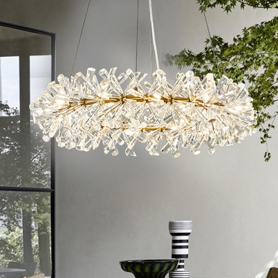 Clear Faceted Rod Round Chandelier Lamp Traditional 18 Heads Living Room Hanging Light