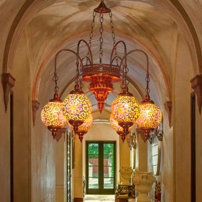 Colorful Glass Globe Hanging Chandelier Vintage 6 Lights Living Room Pendant Light in Gold