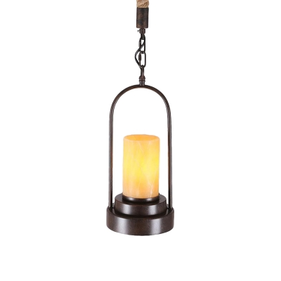 Cylinder Marble Shade Hanging Lighting Farmhouse Style 1 Light Restaurant Suspension Lamp for Bronze/Black Finish