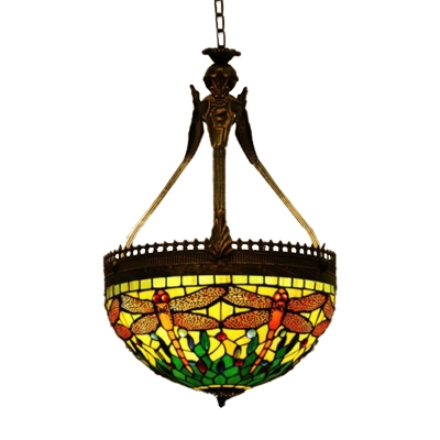 Dragonfly Chandelier Lighting Fixture 3 Lights Stained Glass Mediterranean Ceiling Lamp in Orange