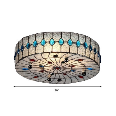 Drum Flush Mount Lamp 2/3 Lights Clear Bubble Glass Mediterranean Ceiling Lighting for Corridor, 12