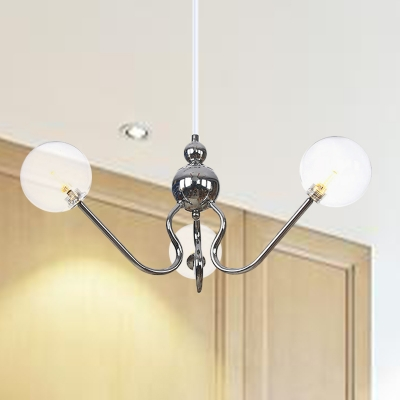 Global Chandelier Lighting Fixture Industrial Amber/Clear/Smoke Gray 3 Lights Indoor Ceiling Lamp in Black/Chrome Finish