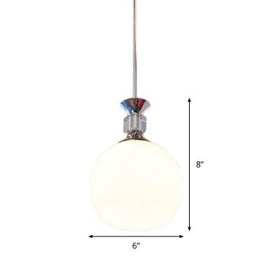 Globe White Glass Hanging Lamp Kit Modernism 1 Head Chrome Pendant Ceiling Light