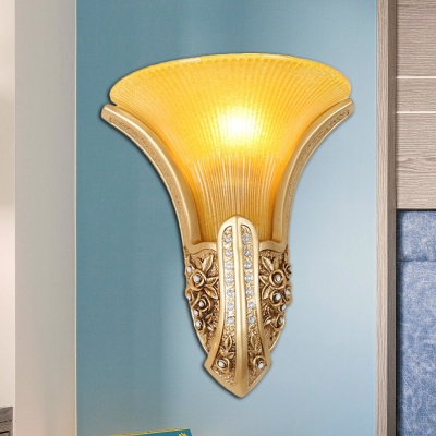 Gold Finish Floral Wall Sconce Light Traditional Style Yellow Glass 1 Light Bedroom Wall Lamp