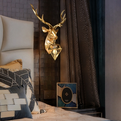Golden Deer Wall Light Retro Stylish Resin and Metal 1 Light Indoor Sconce Lighting Fixture with Diam Shade, 14.5