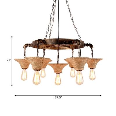 Hand Woven Rope Hanging Pendant Lights Rustic Metal 7 Heads Hanging Chandelier Light for Living Room
