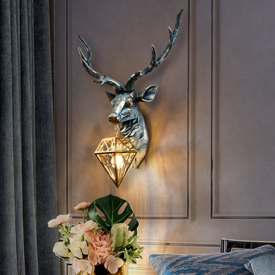 Loft Style Diamond Cage Wall Lamp 1 Head Resin Bronze Sconce Light Fixture with Elk Backplate, 14.5