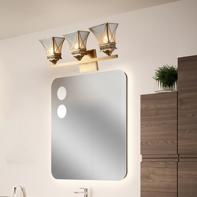 Metal Brass Wall Lamp Flared 3 Bulbs Traditionalism Vanity Wall Light Fixture with Frosted Glass Shade