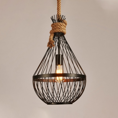 Metal Teardrop Ceiling Lamp Countryside 1 Head Restaurant Suspension Pendant Light in Black
