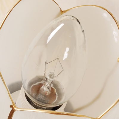 Milk Glass Petal Vanity Lamp Modern Style 2/3 Lights Wall Sconce Lighting with Curved Arm in Black