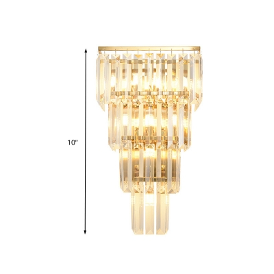 Minimalism Tiered Wall Mount Lamp 4/7 Heads Crystal Block LED Wall Sconce Light in Gold