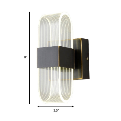 Minimalist Rectangle Wall Sconce Clear Acrylic Bedroom Wall Lighting in Black
