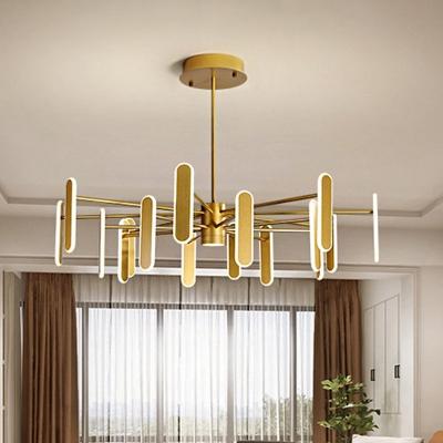 Post Modern Sputnik Ceiling Chandelier Metal Integrated Led Gold Hanging Light