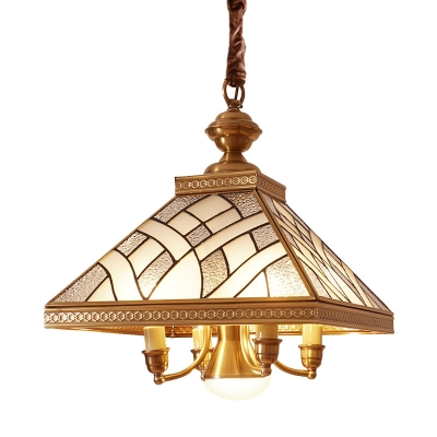 Pyramid Dining Room Ceiling Chandelier Colonial Frosted Glass 5 Heads Brass Hanging Light Fixture