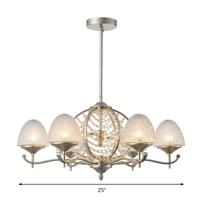 Silver Domed Chandelier Light Fixture Traditional Crystal 8/10 Lights Living Room Hanging Lamp Kit