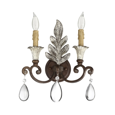 Swooping Arm Bedroom Wall Lighting Fixture Rustic Stylish Crystal 1/2 Lights Gold/Rust Sconce