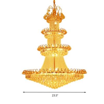 Tiered Ceiling Chandelier Contemporary Crystal 15 Lights Corridor Hanging Light Kit in Gold