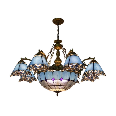Tiffany-Style Pyramid Chandelier 9/11 Heads Stained Glass Ceiling Hang Fixture in Blue for Living Room