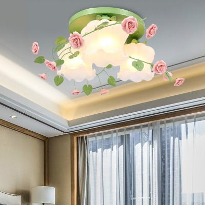 White/Green 3 Lights Flush Mount Country Frosted Glass Blossom Ceiling Mounted Light for Living Room