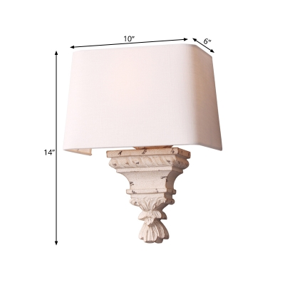 1 Light Bedroom Sconce Traditional White Wall Mounted Light with Trapezoid Fabric Shade
