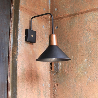 1 Light Outdoor Wall Lamp Industrial Black Lighting Fixture with Cone Metal Shade, HL575963