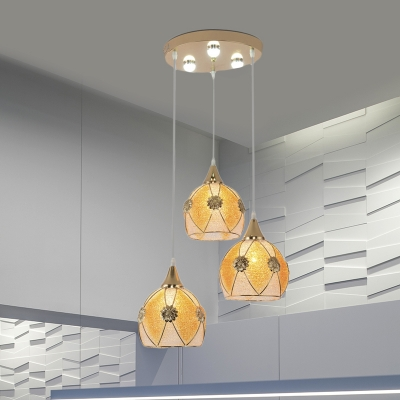 3 Bulbs Dome Cluster Pendant Light Traditional Yellow Plastic Hanging Lamp with Linear/Round Canopy for Restaurant