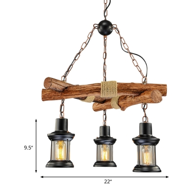 3 Lights Kitchen Chandelier Industrial Black Hanging Ceiling Light with Lantern Clear Glass Shade