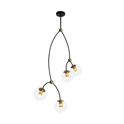 4 Lights Branch Hanging Light with Ball Glass Shade Art Deco Chandelier Light in Brass