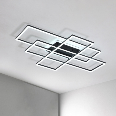 Acrylic Traverse Flush Light Minimalist White/Black LED Ceiling Light Fixture in Warm/White Light, 23.5