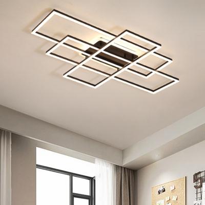 Acrylic Traverse Flush Light Minimalist White/Black LED Ceiling Light Fixture in Warm/White Light, 23.5