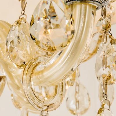 Beige Candelabra Chandelier Lighting Traditional Crystal Drop 4 Lights Living Room Suspension Light