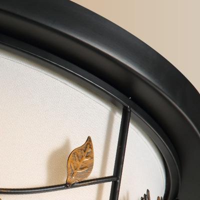 Black LED Flush Mount Fixture Countryside Fabric Bird/Deer Ceiling Mounted Light for Living Room