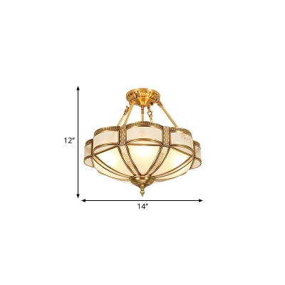 Bowl Frosted Glass Semi Flush Light Traditional 3/4 Lights Dining Room Semi Flush Mount in Brass, 14