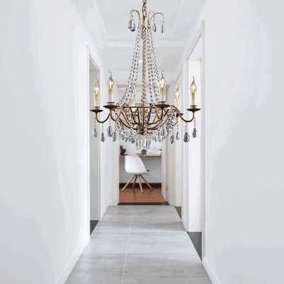 Brown 6 Lights Ceiling Chandelier Rustic Crystal Candle Hanging Pendant Light for Corridor