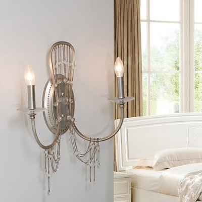 Candle Bedroom Wall Sconce Light Vintage Metal 2 Heads Nickle Wall Lighting Fixture with Crystal Accent