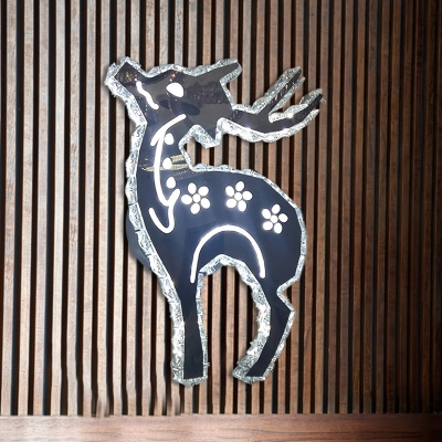 Clear Crystal Deer Wall Light Contemporary LED Nickle Wall Mounted Lighting in Warm/White Light, HL583103