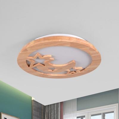Contemporary Star Moon Flush Ceiling Light Fixture Wood LED Living Room Flush Mount in Beige